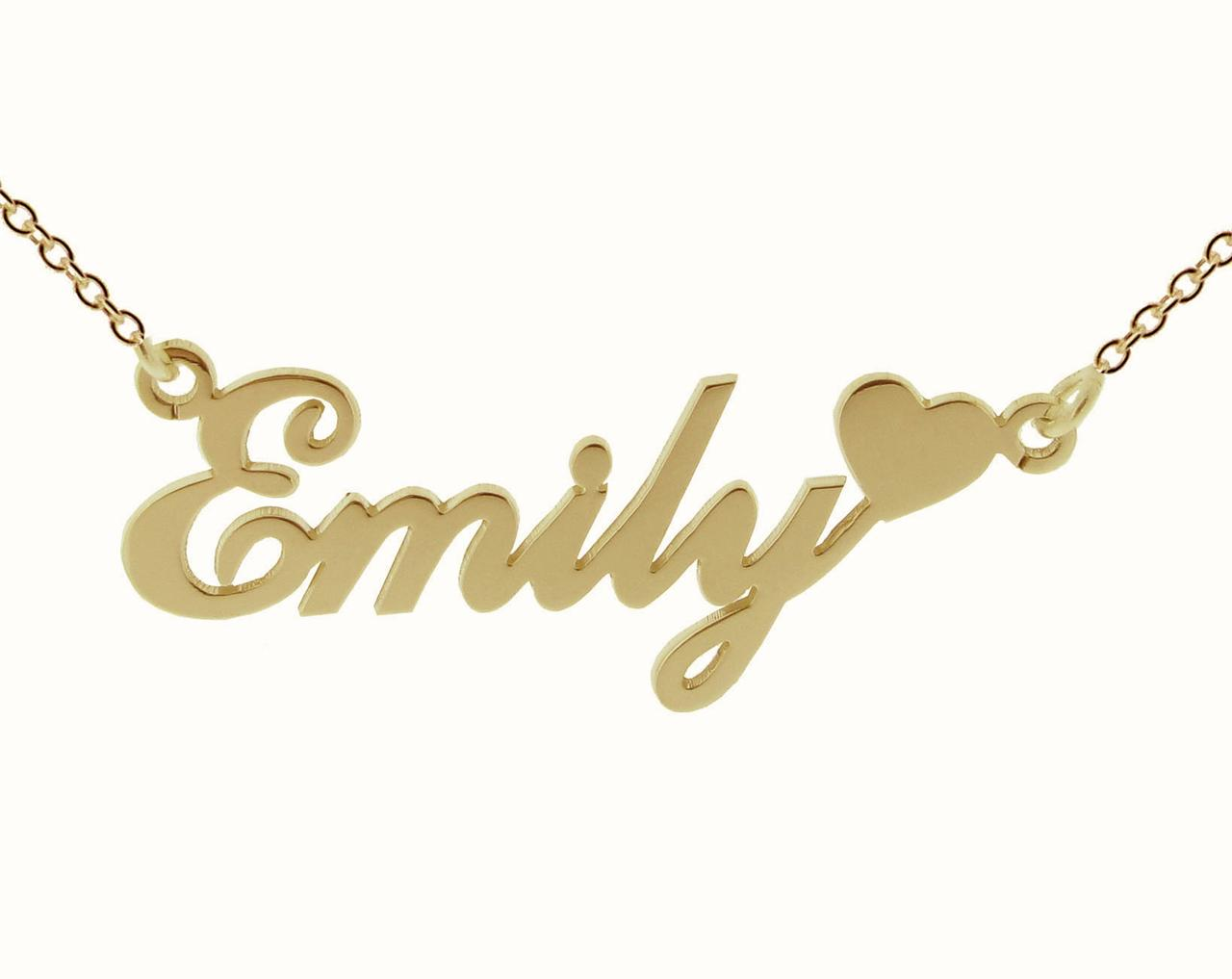 gold kid custom plated script nameplate solid simple necklace name