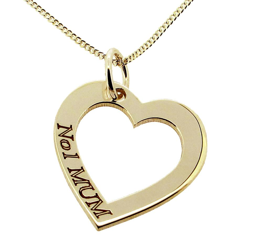 375 solid 9ct gold jewellery heart number 1 mum pendant - 375 gold ...