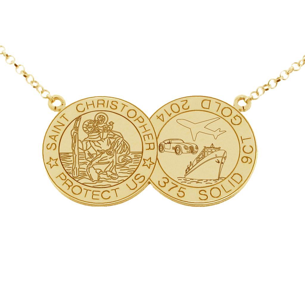 9ct solid gold ladies double disc st christopher pendant. Black Bedroom Furniture Sets. Home Design Ideas
