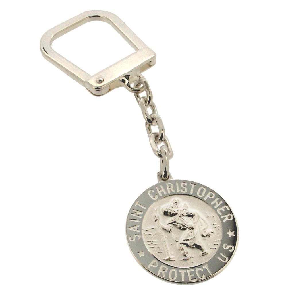 Solid Silver St Christopher Key Ring