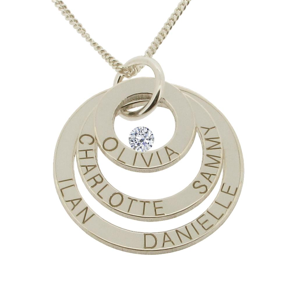 9ct solid white gold personalised three disc family