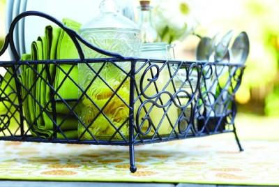 Mesa wrought iron picnic caddy plates napkins flatware - Wrought iron flatware ...