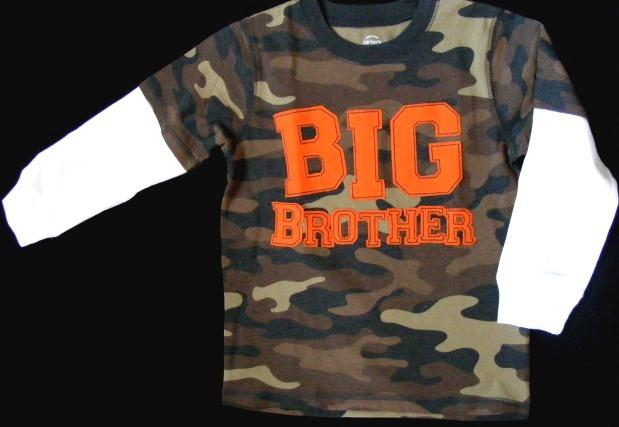 New big brother carter 39 s camo t shirt 2t 3t 4t boys top ebay for Big brother shirts for toddlers carters