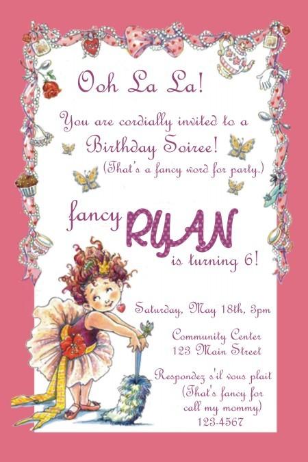 Details about FANCY NANCY Birthday Invitations -24 Hr Proof! U Print!