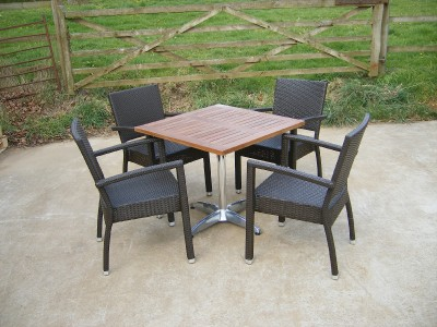 Wicker Warehouse on Teak Rattan Aluminium Bistro Patio Set   4 Chairs Table   Ebay