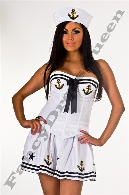 White Sailor Corset Fancy Dress Costume Size 8-10