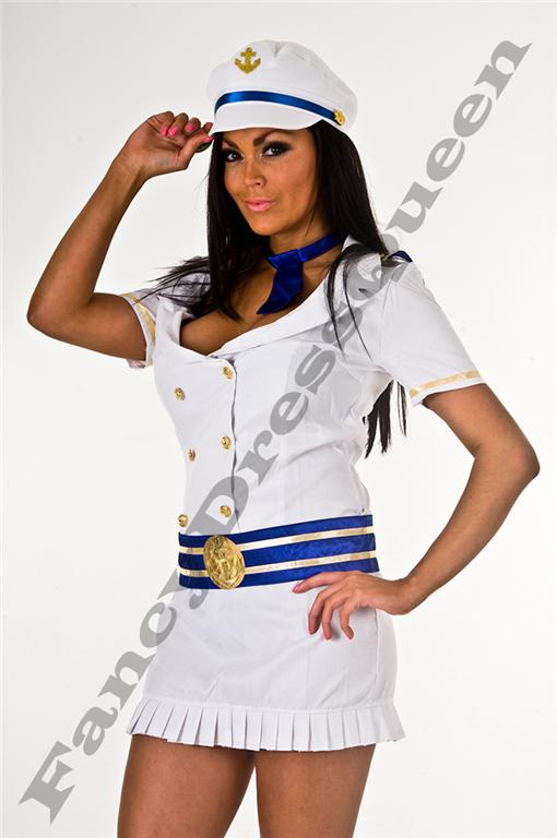 White Sailor Girl Fancy Dress Costume Outfit 8-10
