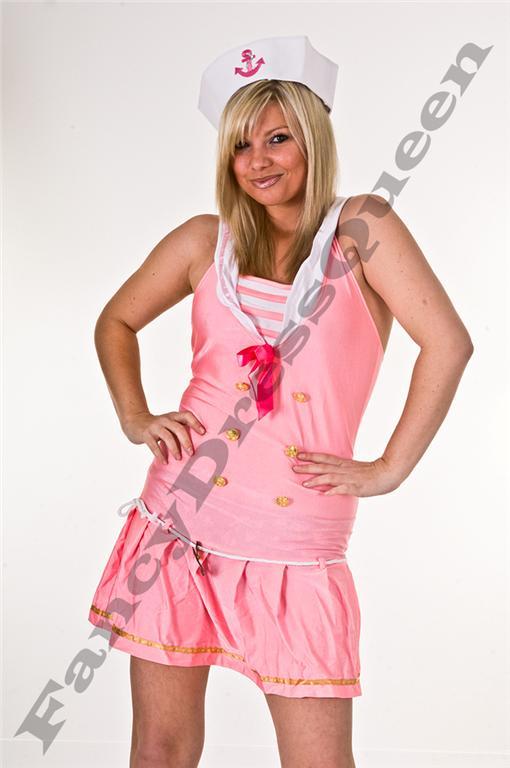 Pink Sailor Fancy Dress Costume Size 8-12