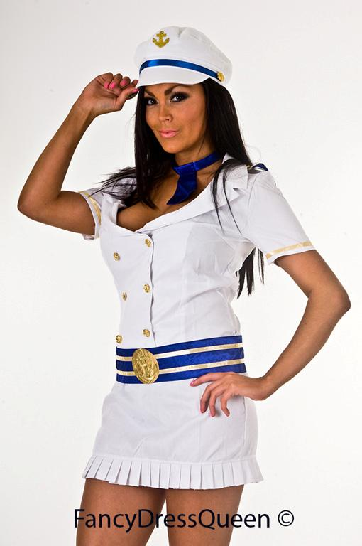 Sexy White Sailor Girl Fancy Dress Costume Outfit 8-10