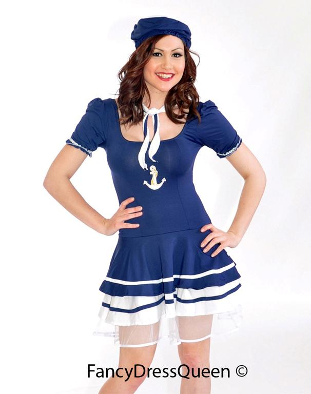 Womens Navy Sailor Fancy Dress Costume Girl Outfit