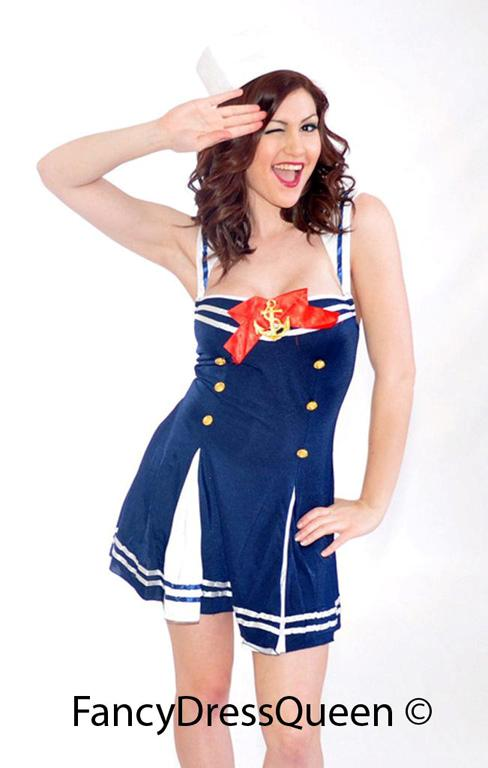 Navy Sailor Fancy Dress Costume Size 8-12