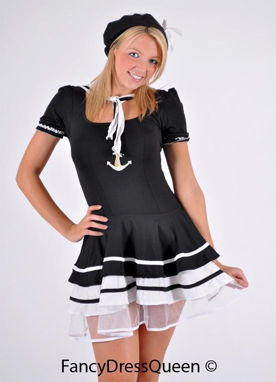 Black Sailor Girl Fancy Dress Costume Outfit  8-12