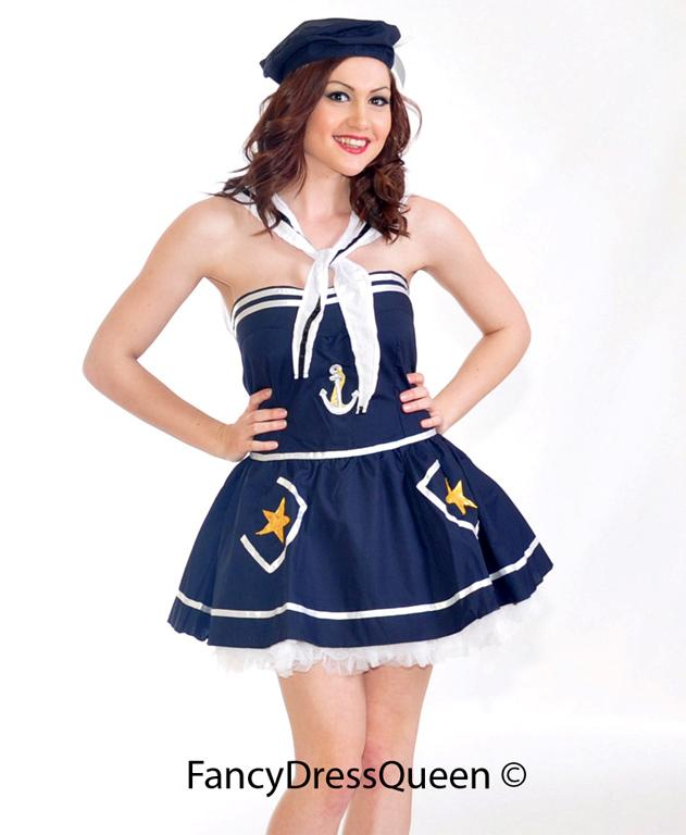 Navy Sailor Corset Fancy Dress Costume Size  8-10