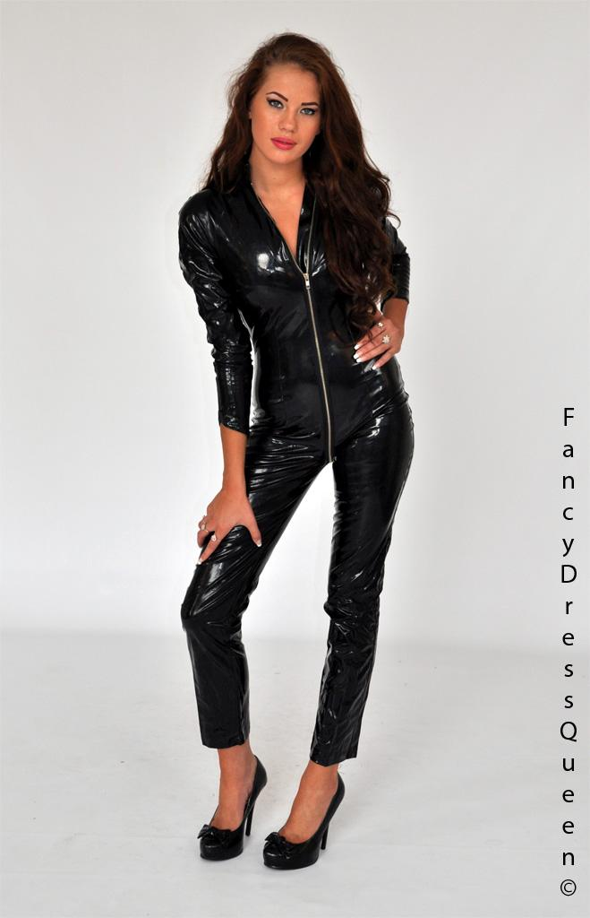 A sexy black PVC catsuit worn by Laura