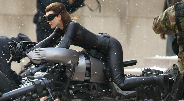 A side shot of the Anne Hathaway Catwoman Costume from the Dark Knight Rises movie set.