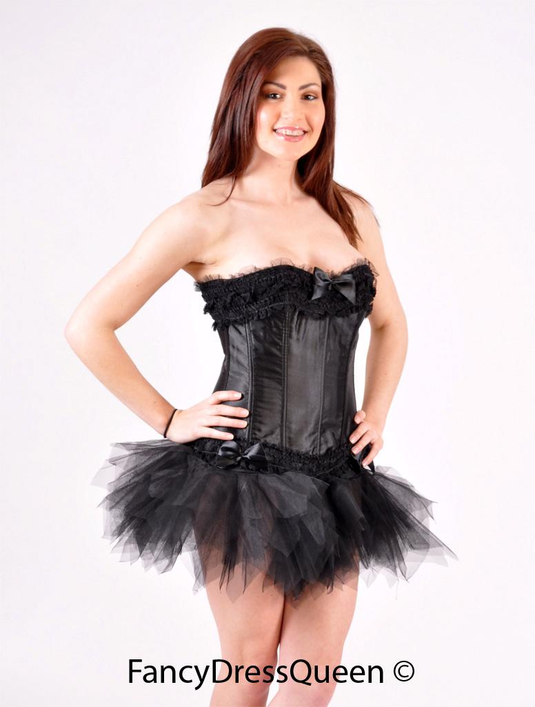 Sexy Black Swan Costume Corset Halloween Fancy Dress Outfit Loading