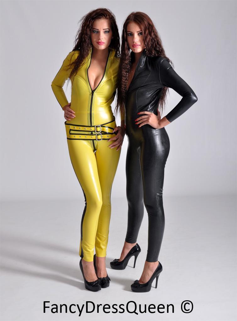 yellow latex kill bill costume catsuit fancy dress sizes. Black Bedroom Furniture Sets. Home Design Ideas