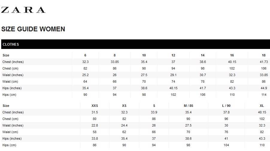 Zara size chart we checked and women s clothes sizes at h m zara