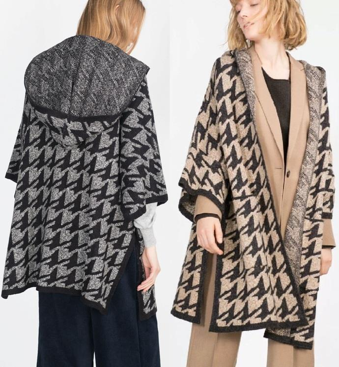 Poncho Jacket Knitting Pattern : ZARA Houndstooth Check Pattern Knit Cape Poncho Coatigan With Hood coat Jacke...
