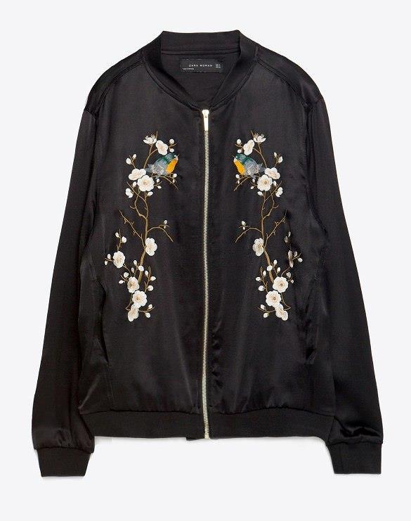 Zara black satin oriental floral embroidered loose fit