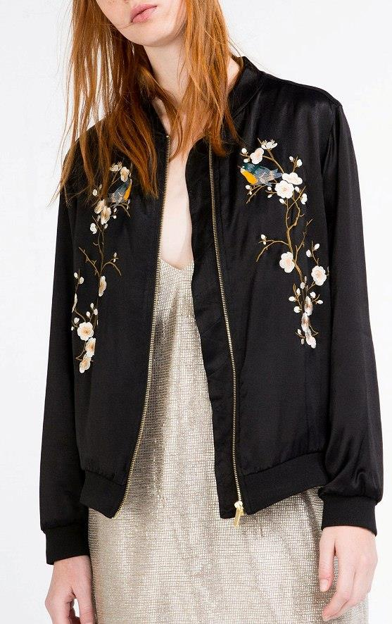 Zara black satin oriental floral embroidered loose fit