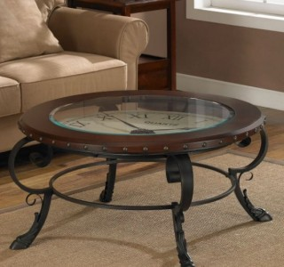 round clock accent coffee table glass top unique ebay. Black Bedroom Furniture Sets. Home Design Ideas