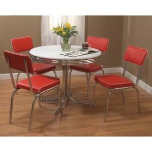 Retro 5 Piece Dining SET Round Chrome Kitchen White Table