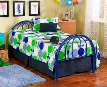 twin size blue platform metal bed frame head footboard no box spring needed ebay. Black Bedroom Furniture Sets. Home Design Ideas