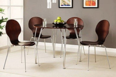 Retro 5 Piece Bentwood Shell Dining Set Kitchen Dinette Espresso Brown FREE S