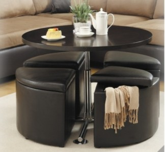 Details About Round Cocktail Coffee Table Storage Ottomans Dining