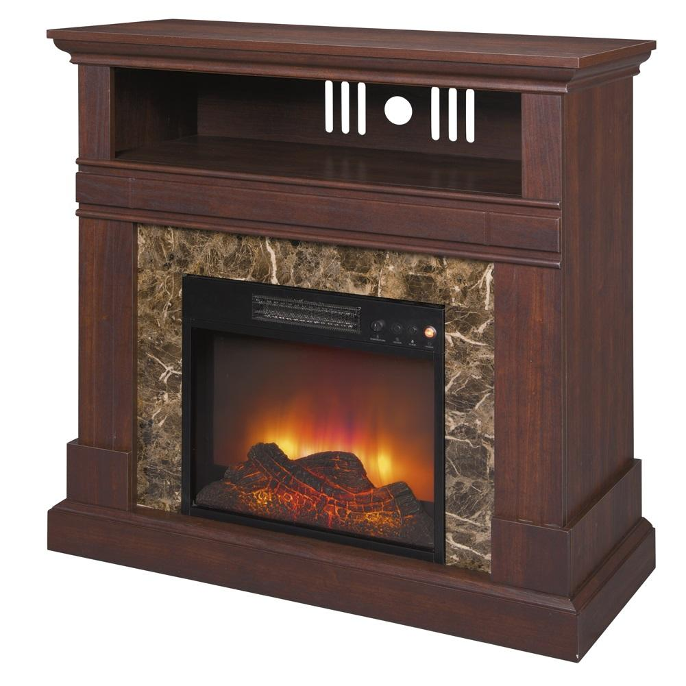 New 36 Electric Fireplace Tv Stand Walnut Finish Faux Marble Accent And Mantle Ebay