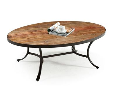 Wood Coffee Table Restoration Style Metal Hardware Oval Cocktail Table