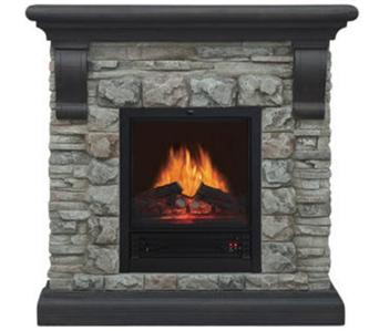 40 Electric Fireplace Heater Polyfiber Faux Stone And Brick With Mantel New Ebay