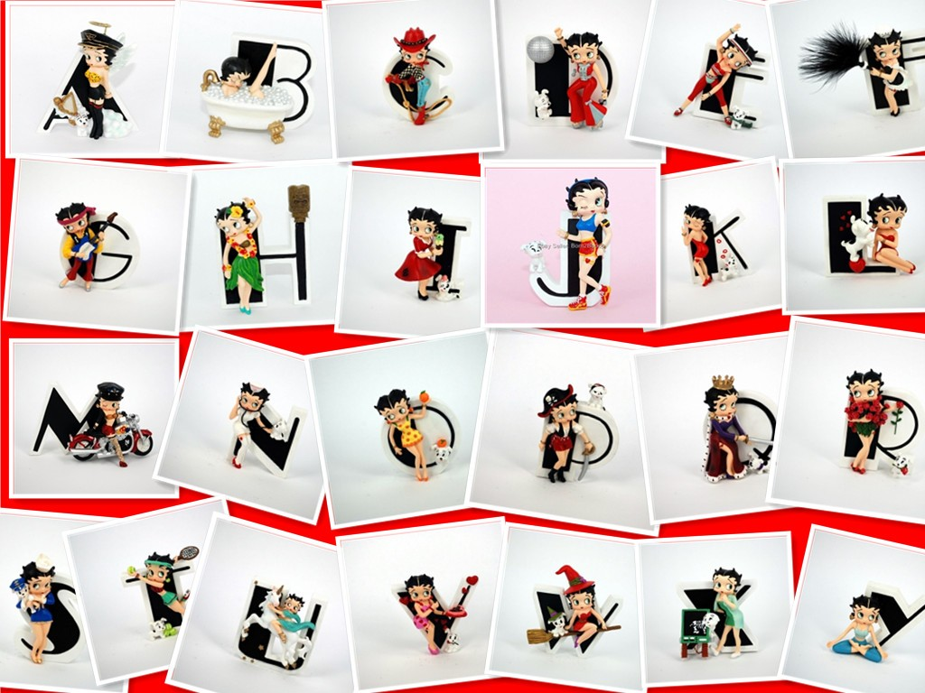 official betty boop figure alphabet initial letter a z