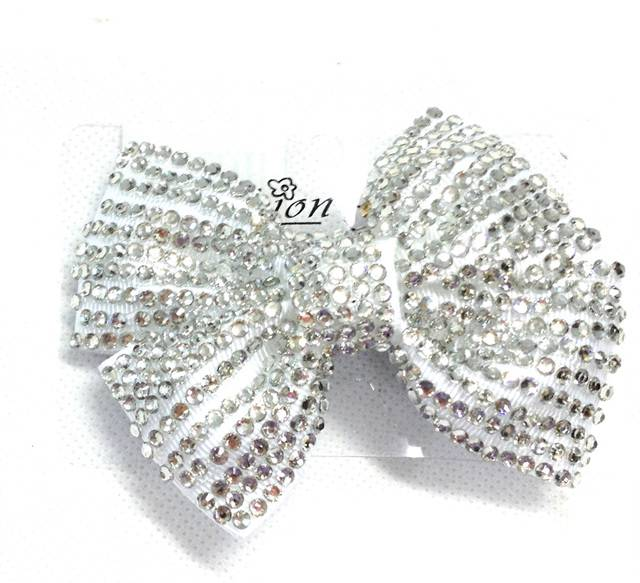 Girl Ladies Fashion Shining Brand New Diamante Crystal Bow Hair Clip Small Size