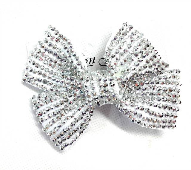Girl Ladies Fashion Shining Brand New Diamante Crystal Bow Hair Clip Small Size