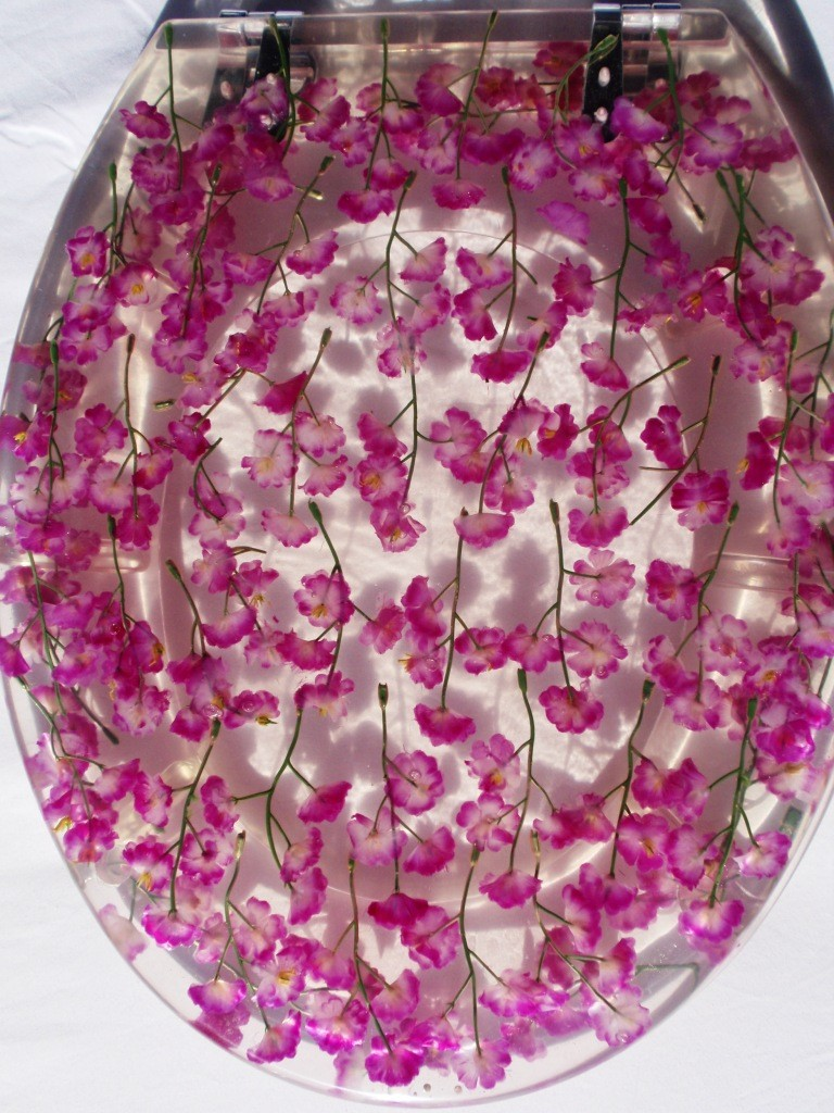 New-Designer-Toilet-Seat-Clear-Resin-Purple-Floral-Flower-Loo-Design