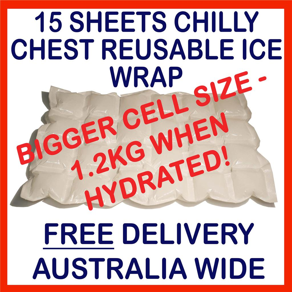 15-SHEETS-ESKY-ICE-BOX-DRY-ICE-PACKS-REUSABLE-HYDRATABLE-WRAP-COOLER-HOT-PACK