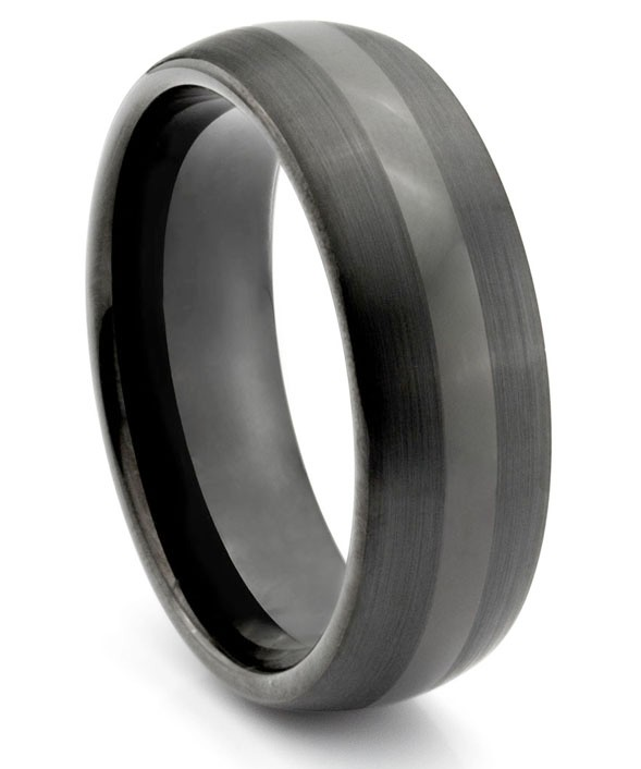 8mm tungsten carbide mens brushed polished black wedding band ring