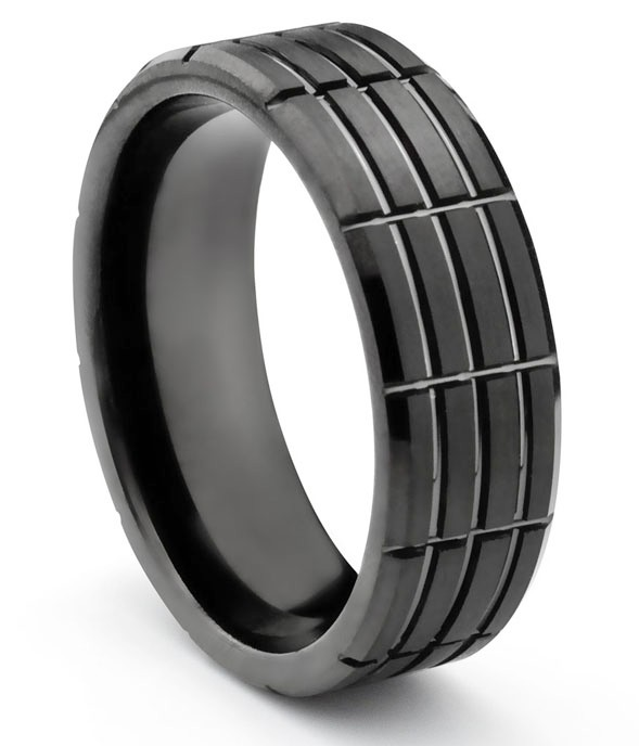 8MM Tungsten Carbide Mens Matte Black Grooved Wedding Band Ring