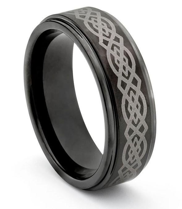 8mm Tungsten Mens Black Wedding Band Ring W Laser Engraved Celtic Design