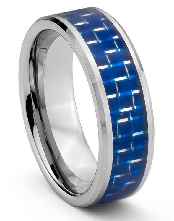 8mm Tungsten Carbide Mens Wedding Band Ring W Blue Carbon Fiber Inlay
