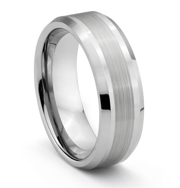 8mm tungsten mens brushed polished silver wedding band