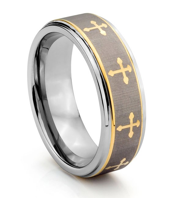 8MM Tungsten Carbide Engraved Gold Celtic Cross Mens Wedding Band Ring