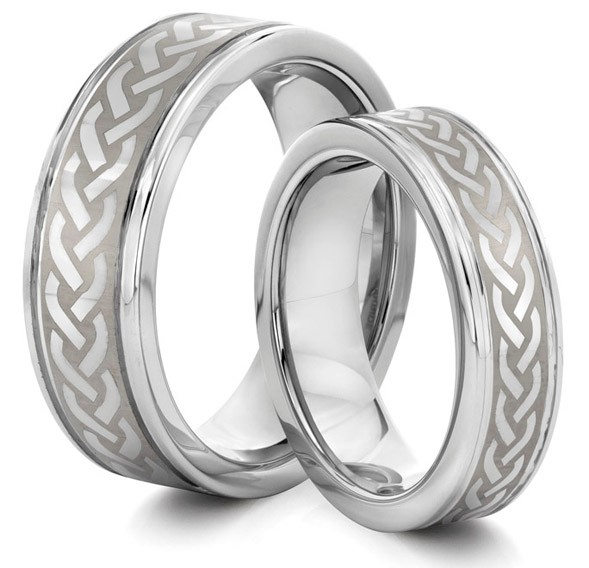 his s 8mm 6mm tungsten carbide silver celtic knot