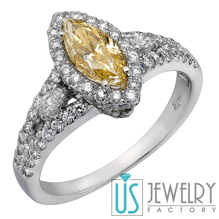 Canary Yellow Marquise Diamond Engagement Ring w Round & Marquise Side D