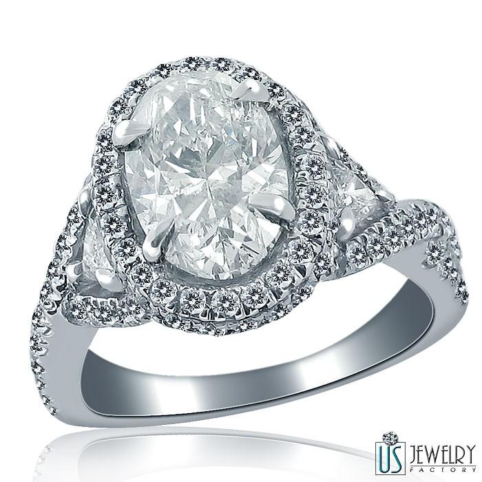 Captivating 3 53 Carat Oval Trillion Cut Diamond Engagement Ring 18k White Go