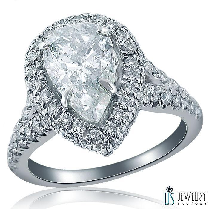 Elegant Split Shank 3 04 Carat Pear Brilliant Cut Diamond Engagement Ring 18k