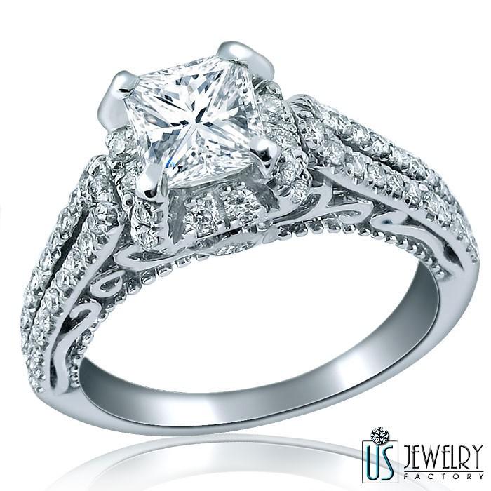 Vintage Diamond Ring Princess Cut 14k White Gold Engagement Jewelry 1 ...