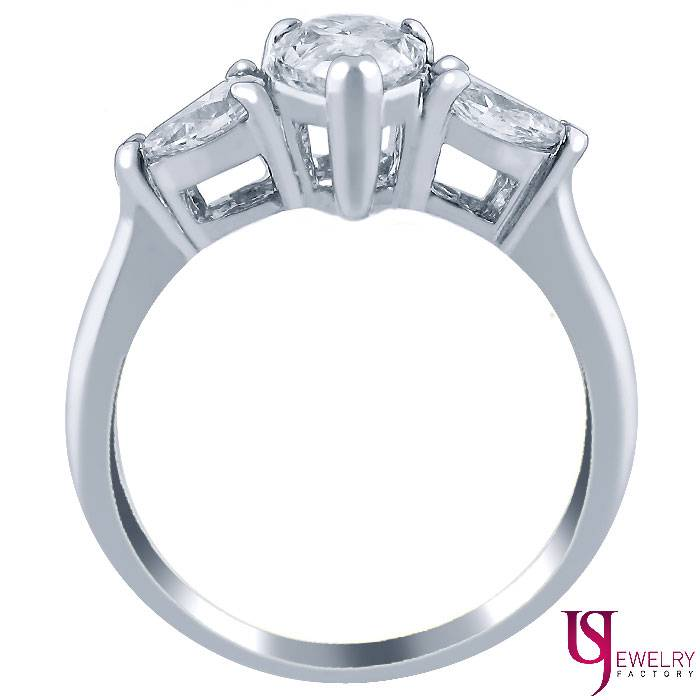 Three Stone 1 52 Carat Pear Shaped Diamond Engagement Ring 18k White Gold